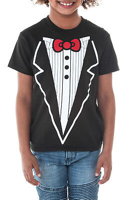 Boys Tuxedo & Red Bow-Tie T-Shirt - Black