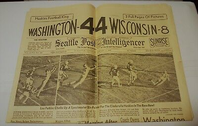 Vintage The Seattle Post Intelligencer  January 2 1960 Rose Bowl Uw Front Page