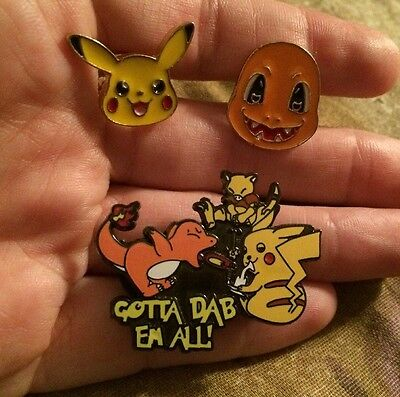 3 Piece Lot! Gotta Dab Em All Brand New Dab Pins! Festival Heady Hat Pins
