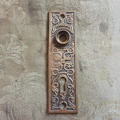 Antique K  &  D Solid Cast Brass  Eastlake Door Knob Backplate #1