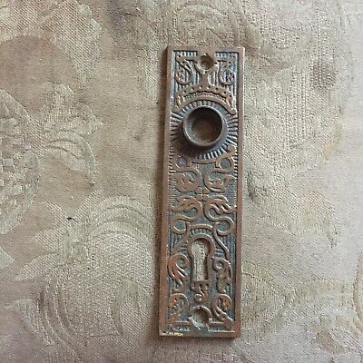 Antique K  &  D Solid Cast Brass  Eastlake Door Knob Backplate #2