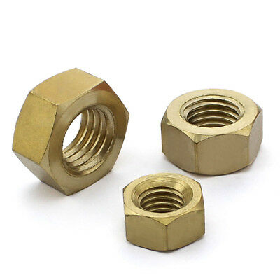 Brass Hex Nut Plain Finish Right Hand DIN934 Metric M3,M4,M5,M6,M8,M10,M12