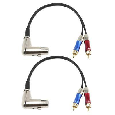 2Pcs 90° XLR Female to Dual RCA Male Stereo Splitter Adapter Audio Cable