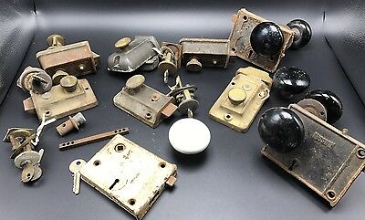 LOT ANTIQUE DOOR LATCH LOCKS & Misc RUSSWIN YALE Corbin