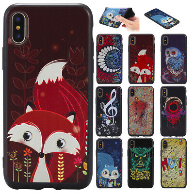 Pattern Rubber Soft TPU Shockproof Phone Case Cover For Apple iPhone 7 X 8 Plus