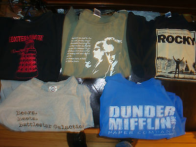 Five Slightly Damaged TV/Movie T-Shirts! Dr. Who Office Boondock Saints Rocky