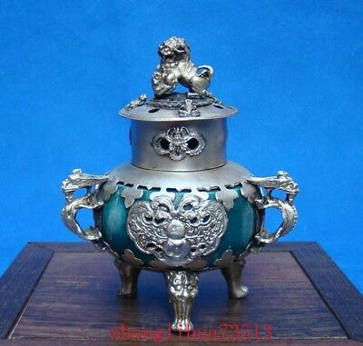 Collectible Handmade Silver & Porcelain inlaid Incense Burner Lion