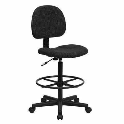 Flash Furniture Black Patterned Fabric Drafting Chair Cylinders: 22.5''-27''H or