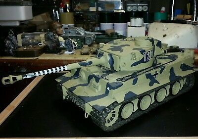Tamiya German WWII DAK Tiger I in 1/16 scale. This kit is built & painted.