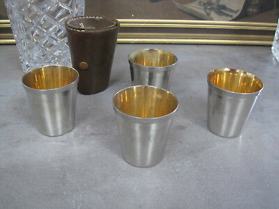 Small Silver Plated Picnic Beakers in Leather Case