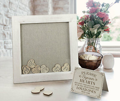 SMALL WEDDING GUEST BOOK FRAME DROP BOX WISHES 21ST ANNIVERSARY signing hearts