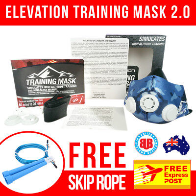 Training Mask 2.0 - BLUE CAMO - MED - FREE EXPRESS POST