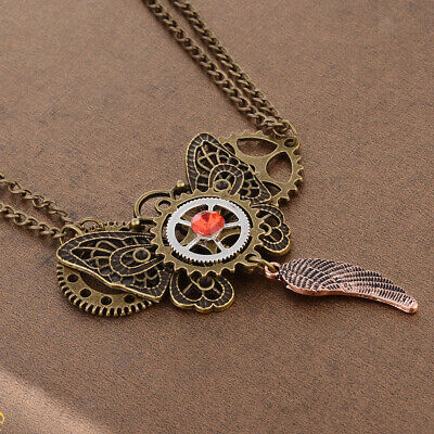 Retro Steampunk Gear Necklace Butterfly Feather Shaped Pendant Double Chain