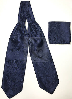 Navy Blue Paisley Italy Design Free Style Casual Ascot Cravat And Pocket Square