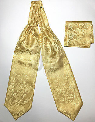 Gold Paisley Italy Design Free Style Casual Ascot Cravat And Pocket Square Hanky