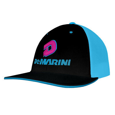 DeMarini Stacked D Baseball/Softball Trucker Hat - Black/Neon Blue/Pink - L/XL