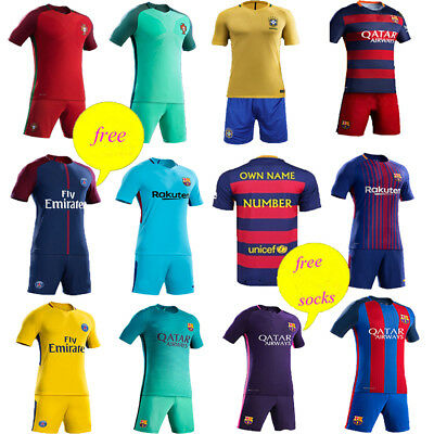 2017-18 Football Kit Kids Sport Suit Short Sleeve Jersey & Shorts &Sock 3-12 Yrs