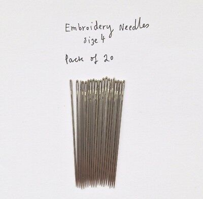 HAND EMBROIDERY/CREWEL NEEDLES (size 4) pack of 20 - STEEL-MADE IN ENGLAND