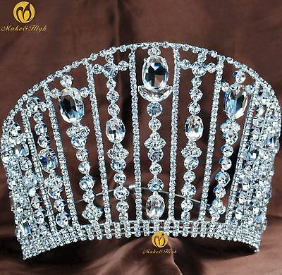 "Large 5.5"" Beauty Pageant Tiara Brides Crown Rhinestone Crystal Hair Accessories"