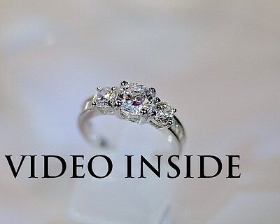 Diamond Ring Solid Sterling Silver 925 Engagement Round Cut 2.8CT