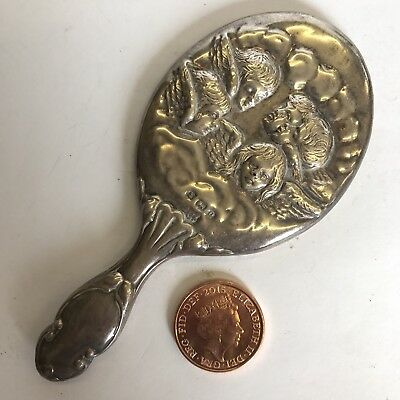 Antique Solid Silver Miniature Hand Mirror H Pithey 1900 10cm Cherubs Angels A/F
