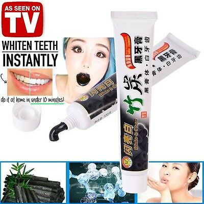 See TV BAMBOO CHARCOAL TEETH WHITENER TOOTHPASTE Natural Black Japanese Charcle