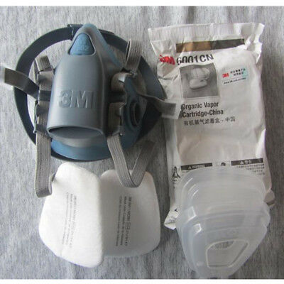 3M 7502 7 Piece 6001 5N11 501 Suit Respirator Painting Spraying Face Gas Mask