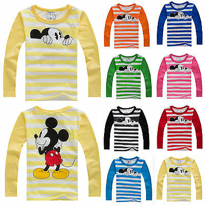 Kids Boys Girls Mickey Mouse Long Sleeve Blouse T-Shirts Casual Tee Tops Outwear