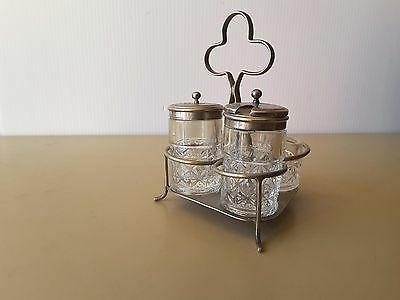VINTAGE Cruet Set THREE PIECE WITH  Silver Plated Stand