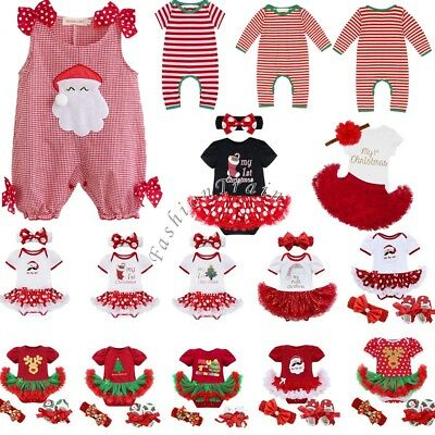 Baby Girl My First Christmas Tree Santa Jumpsuit Tutu Outfit Fancy Dress Clothes
