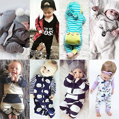 Newborn Baby Boys Girls Cotton Romper Bodysuit Jumpsuit Playsuit Outfits Clothes