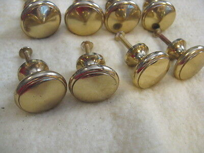 """Lot of 8 Solid Heavy Brass Drawer Cabinet Knobs Pulls 1"""""""