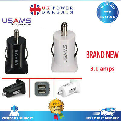Genuine Travel Twin 2 Port USB in Car Charger 3.1 Amp USAMS Dual Car Charger 12V