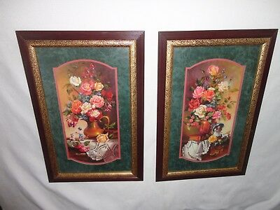 Home Interiors  2pc Set'' Vase of Roses ''Pictures Gorgeous 15.5x 23.5''