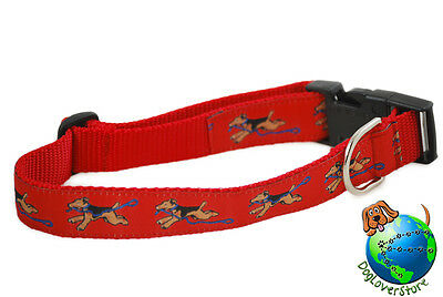 """Airedale Adjustable Collar Large 12-20"""" Red"""