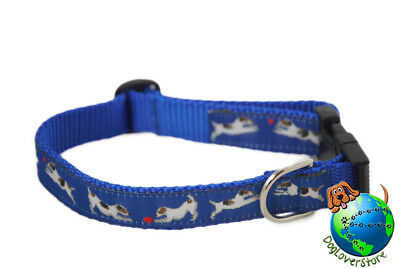 Jack Russell Dog Breed Adjustable Nylon Collar Medium 10-16″ Blue