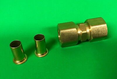 """New Couplings Co. 1/2""""  Brass Compression Union Cat. 462F with Inserts & Sleeves"""