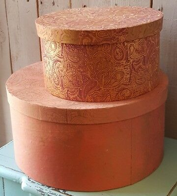 Set 2 French Shabby Chic Vintage Floral Storage Round HAT Jewellery BOXES Lid