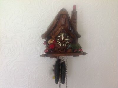 RareVintage German Black Forest Mickey Mouse Cottage Style Cuckoo Clock.