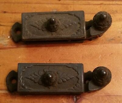 2 Antique Cast Iron Cupboard Window Latches Pull Down Latch  Very Nice Design