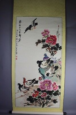 Chinese Signed Scroll Hand Painting: Rooster'S And Bird