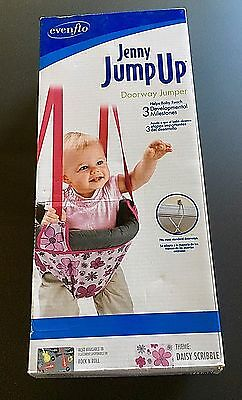 New NIB Jenny Jump Up Daisy Scribble Pink Floral Hanging Doorway Jumper Bouncer