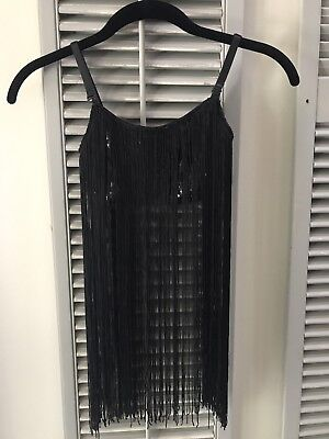 Girls Dance Top Black Fringe Sequined Med Child, EUC 1920's/Can-Can