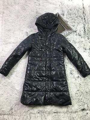 Tex Kids Girls Black Quilted Down Long Coat Jacket Parka Size 10