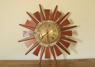 Vintage Retro Starburst Clock Anstey Wilson Teak Wood And Brass 60s 70s