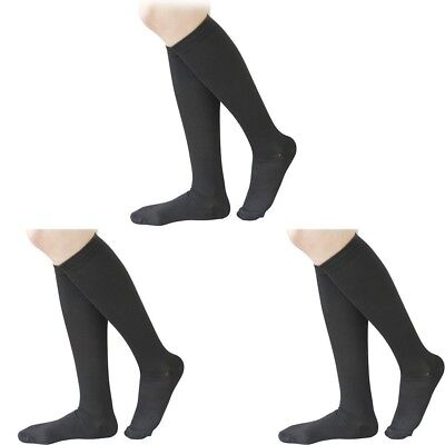 (Black, S/M) - 3 Pairs Knee High Graduated Compression Socks For Women and Men