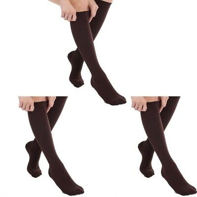 (Brown, S/M) - 3 Pairs Knee High Graduated Compression Socks For Women and Men