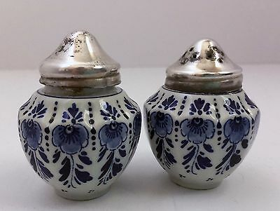 "Blue and White Delft salt and pepper Shakers Holland Floral Silver Top 3"" Vntg"