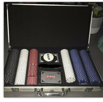 2 Poker Chip Set &  Chips Casino 1 Aluminum Case Cards  Texas  Holdem W/ Dice