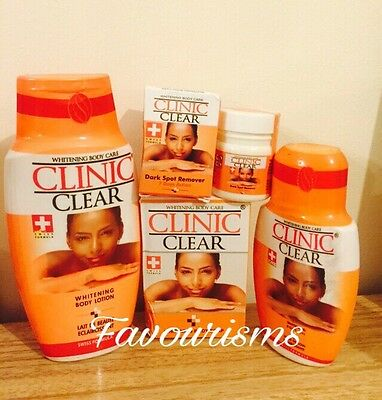 CLINIC CLEAR WHITENING/LIGHTENING BODY CARE SET: LOTION, BSC,OIL & SOAP (4lots)